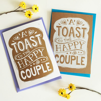 Linocut Funny Wedding Toast Birthday Card (Single Card)