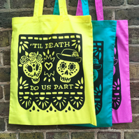 Day of the Dead Screen Printed Tote Bag (one bag with choice of colours)