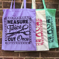 Dressmaking and Sewing Screen Printed Tote Bag (one bag with choice of colours)