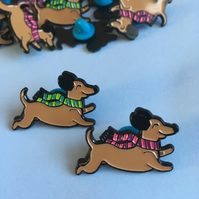 Happy Sausage Dog Dachshund Enamel Pin Brooch (One pin)