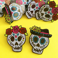 Day of the Dead Sugar Skull Enamel Pin Set (glow in the dark)