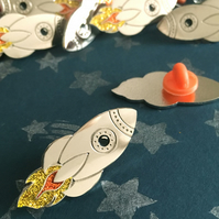 Rocket Ship Space Enamel Pin with Glitter
