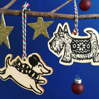 Dog (Dachshund and Scottish Terrier) Birch Wood Linocut Christmas Decorations