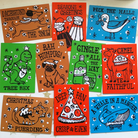 Mega Pack of 10 Christmas Cracker Pun Christmas cards