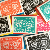 Linocut Day of the Day Sugar Skull Wedding Card, Valentines card or Anniversary