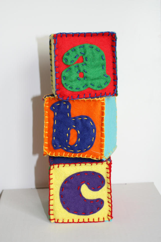 Baby soft building blocks, bricks, personalised with name or word in any colour