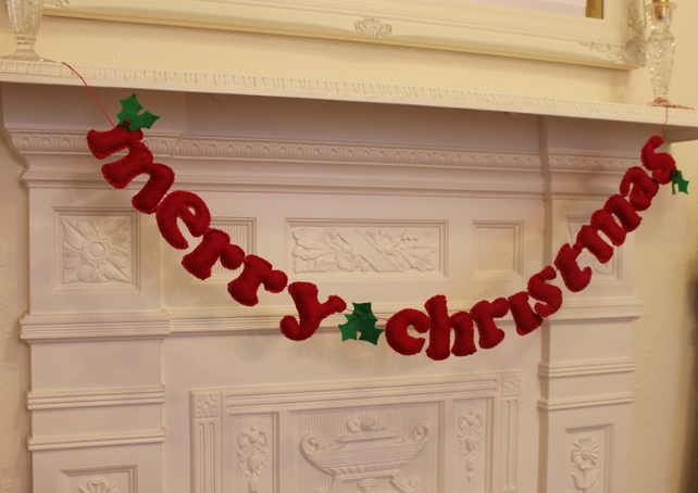 Merry Christmas 39 Garland With Holly Decor Folksy