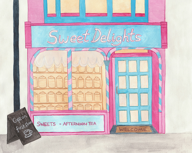 Shop Series - Sweet Delights - 8 x 10 Watercolour Print