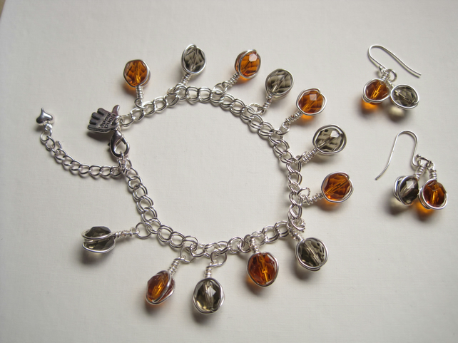 Fire Polished bead sterling silver earring and bracelet set