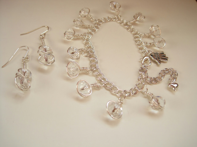 Rondelle stone sterling silver earring and bracelet set