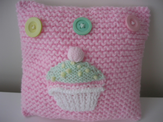 Handknitted cupcake cushion