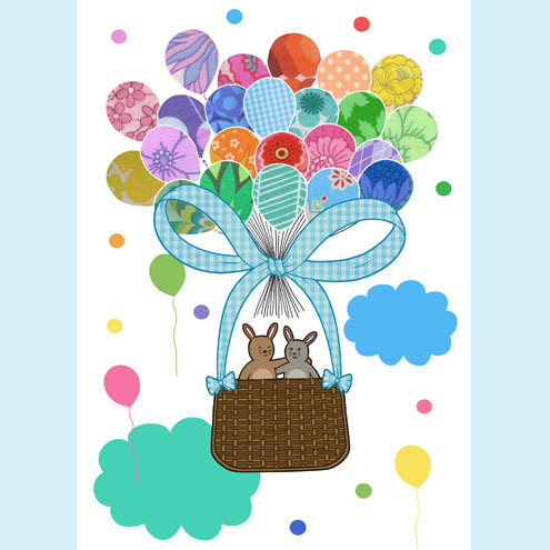 Bunny Balloon Ride illustration A3 size Print
