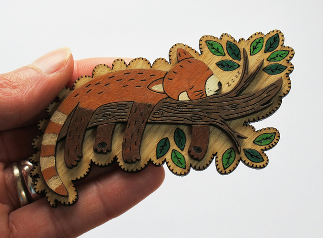 Milo the Sleeping Red Panda, wooden brooch