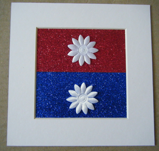 Red white and blue glitter picture, 4 x 4 inches in 6 x 6 mount