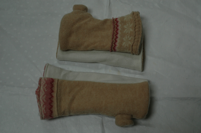 Meer's Ears Reversible Fingerless Gloves Mittens, Upcycled Knitwear Fleece
