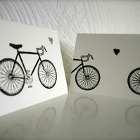 Hand Stamped Bicycle Valentine's Day Card