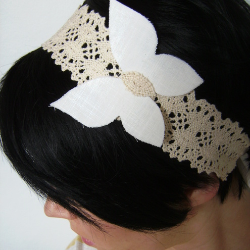 Crochet lace headband with butterfly