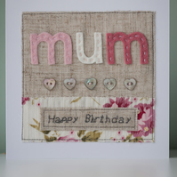 I Heart Mum Appliqué Birthday Card