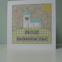 Handmade and Personalised Christening Card for a Boy.