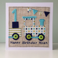 All aboard! Personalised Boys Birthday Card