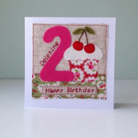 Cherry Cupcakes! Personalised Girls Birthday Card