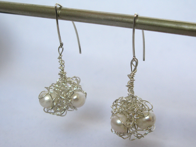 Selina Earrings - sterling silver with freshwater pearls
