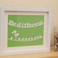 Framed handmade papercut picture inspirational and motivational Be Different