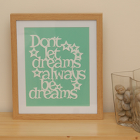 Framed happy motivational inspirational dream handmade papercut words with stars