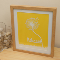 Framed dandelion make a wish handmade papercut picture