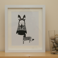 Framed Colin the zebra picture hand cut papercut
