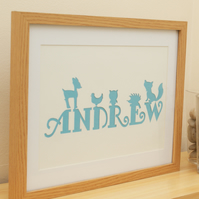 Personalised handmade papercut - name for boy or girl with cute woodland animals