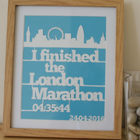 Personalised London Marathon papercut, framed, momento for a race