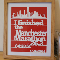 Personalised Manchester Marathon papercut, framed, momento for a race