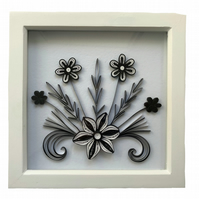 Black & White Quilled Flowers in a White Frame