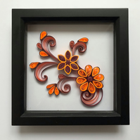 Shades of Orange and Maroon Quilled Flowers in a Black Frame