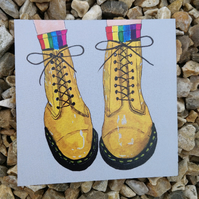 Yellow Doc Martens Boots Illustrated Print