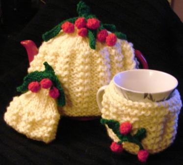 CHERRY TEA COSY Breakfast Set includes Tea Cozy Egg & Mug Cosy Coasters & Stand