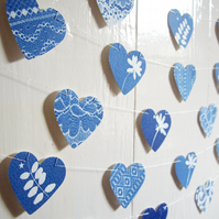 Cyanotype Blue Hedgerow and Lace Heart Bunting