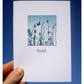 'Diolch' ('Thank you' in Welsh) Blue Cyanotype Card