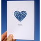 'Diolch' ('Thank you' in Welsh) Blue Lace Heart Cyanotype Card