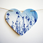 Large Meadow Heart Cyanotype Blue Bunting