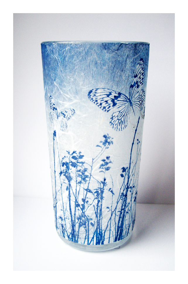Butterfly Blue Cyanotype Vase