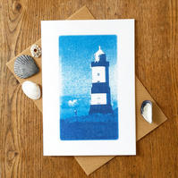 'Penmon lighthouse, Anglesey', Blue Cyanotype Card