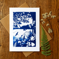 'Swallows Return', Blue Cyanotype Card