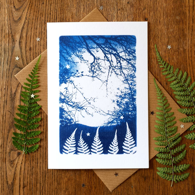 Magical Fern Forest Blue Cyanotype Card