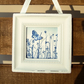 Little Blue Fluttering Butterfly Meadow Cyanotype Framed