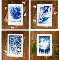 Pack of 4 Welsh Christmas cards from Cyanotype images
