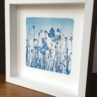 'Butterfly Meadow' Original Cyanotype Framed