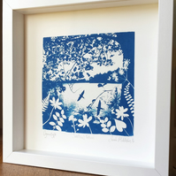 'Swallows Return' Original Cyanotype Framed