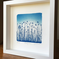 'Butterfly Meadow II' Original Cyanotype Framed